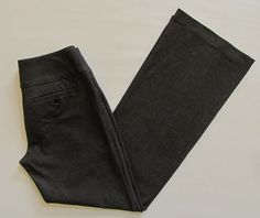 "Express Editor Pants 4 Black double knit Studio Stretch Wide Waist Flare Leg 32"" #Express #DressPants"