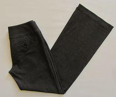 "Express Editor Pants 4 Black double knit Studio Stretch Wide Waist Flare Leg 32"" #Express #DressPants"
