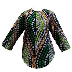 Sade African Print Round Hem Top (Green/White/Orange) – D'IYANU
