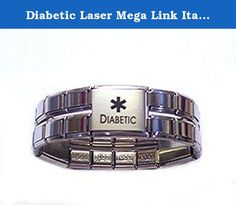 Diabetic Laser Mega Link Italian Charm Bracelet. BEAUTIFUL PREMIUM HIGH QUALITY 18MM MEDICAL ITALIAN CHARM BRACELET. HAS THREE 18MM LASER DIABETIC CHARMS SO IT CAN BE SEEN FROM EVERY ANGLE WHILE WEARING IT. GREAT FOR MEN AND WOMEN. STYLISH AND YET USEFUL. MAKES A GREAT GIFT FOR A FRIEND, LOVED ONE OR EVEN FOR YOURSELF!.