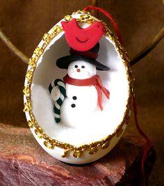 Jolly Snowman Handmade Diorama Egg Holiday