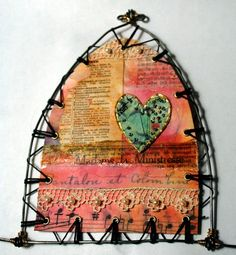 Wire gothic arch with fabric paper