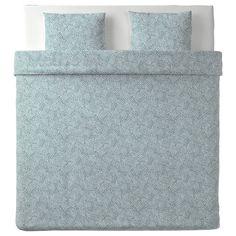 TRÄDKRASSULA Funda nórdica y 2 fundas almohada - blanco/azul - IKEA Ikea Family, Facial Tissue, Guest Room, Blanket, Home, Good Relationships, Ikea Products, Recycled Materials, Pillowcases
