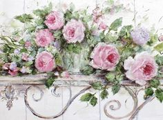 Roses on a Wrought Iron Bench