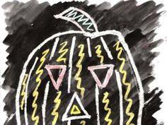 Crayon resist Jack-O-Lantern. KinderArt.com