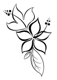 Modèle de tatouage de fleurs d'hibiscus avec des feuilles.