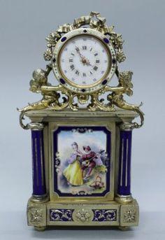 Austrian enameled and silver gilt clock, C. 1860