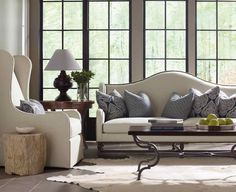 Bernhardt | Living Room | Yardley Sofa with blue and off-white cushions