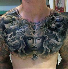 3d Mens Medusa Chest Tattoos