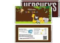Jungle Safari Baby Shower Candy Bar Wrappers