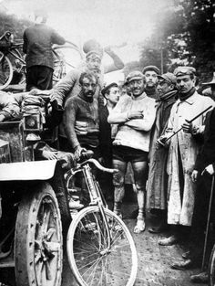 The wining scene at the finish of the first Tour de France (1903)