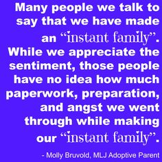 """Many people we talk to say that we have made an """"instant family"""". While we appreciate the sentiment, those people have no idea how much paperwork, preparation, and angst we went through while making our """"instant family"""". 