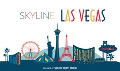 Flat illustration featuring Las Vegas skyline with silhouettes of classic buildings and cultural landmarks. Great for banners, posters, promotions
