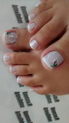 eye catching toe nail art ideas you must try for 2019 summer! - page 30 Fancy Nails, Love Nails, Pretty Nails, My Nails, Pedicure Designs, Pedicure Nail Art, Toe Nail Art, Fingernail Designs, Toe Nail Designs