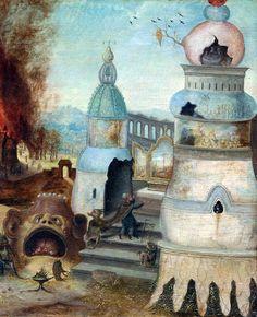 Herri met de Bles (workshop of) - The Temptation of St. Anthony (c. 1550). Detail.