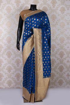 Cobalt #blue & antique #gold pure #banarasi silk exquisite saree with antique gold & #white border -SR11317