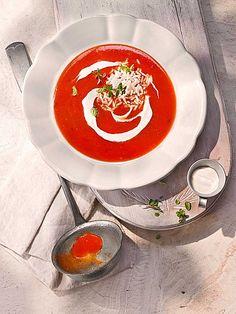 Altdeutsche Tomatensuppe mit Reis und Crème Fraîche