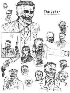 art art conceitual Nate Bellegarde's Joker and Tw Joker Art, Batman Art, Gotham Batman, Batman Robin, Dc Comics Characters, Dc Comics Art, Comic Character, Character Design, Batman Universe