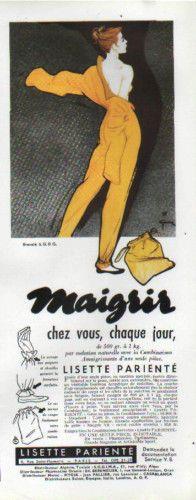 Publicité ( René Gruau ) LISETTE PARIENTE maigrir