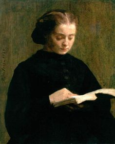 Portrait of Mademoiselle Marie Fantin-Latour (1859). Henri Fantin-Latour (French, 1836-1904). Oil on canvas. Birmingham Museums and Art Gallery. #reading #books #readers