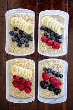 Kids Meals Meal Prep Overnight Oats - Meal prep overnight oats are great to make over the weekend and enjoy all week long. Top with your favorite healthy ingredients to change things up! Lunch Meal Prep, Meal Prep Bowls, Healthy Meal Prep, Healthy Breakfast Recipes, Meal Prep For Breakfast, Healthy Food, Low Fat Breakfast, Fitness Meal Prep, Healthy Eating
