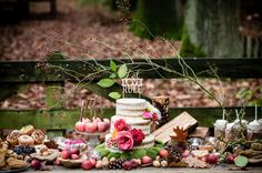 woodsy dessert bar with naked cake