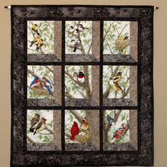 Quilted and Pieced Wall Hanging, Attic Window, Birds in Tree from MiniMade on Etsy. Quilting Projects, Quilting Designs, Sewing Projects, Small Quilts, Mini Quilts, Vogel Quilt, Bird Quilt Blocks, Attic Window Quilts, Animal Quilts