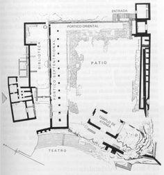 Plano conformado sobre los restos encontrados de la Biblioteca de Pérgamo.