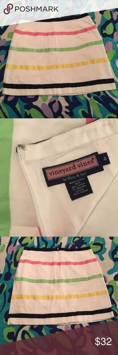 "Vineyard Vines white striped skirt EUC Break the rules--wear white after Labor Day! Or stock up for 2017 and your next beach vacation! Vineyard Vines textured white skirt with colorful textured stripes. See pictures for beautiful fabric details. Back zipper with hidden hook and eye closure. Excellent used condition. 98% cotton, 2% spandex for the perfect bit of stretch. 100% cotton lining. Machine washable. Size 4. 15"" waist, 15.5"" waist to hem. THANK YOU for viewing my closet! Vineyard…"