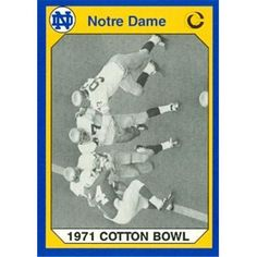 1971 Cotton Bowl Football Card (Notre Dame) 1990 Collegiate Collection Item comes fully certified with a tamper-evident, serialized hologram and certificate of authenticity. Cotton Bowl, Football Cards, Notre Dame, Hologram, Authenticity, Warehouse, Certificate, Collection, Products