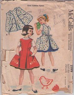 MOMSPatterns Vintage Sewing Patterns - McCall's 2199 Vintage 50's Sewing Pattern PRACTICAL Girls Home Ec Economics Tie Back Cobbler Apron, Aprons Set Size 6