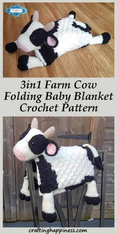 How cute is this baby blanket! Keep your baby warm while they play with the cow toy. Fold it away and instantly transforms into a happy cow decoration for your themed nursery room. Crochet a fluffy cow baby blanket that makes the perfect baby shower gift Baby Blanket Size, Easy Baby Blanket, Crochet Blanket Patterns, Baby Blanket Crochet, Crochet Ideas, Corner To Corner Crochet Blanket, Crochet Cow, Booties Crochet, Easy Crochet
