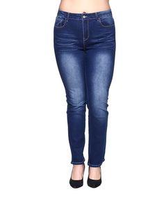 Another great find on #zulily! Dark Indigo Embroidered Pocket Skinny Jeans - Plus Too #zulilyfinds