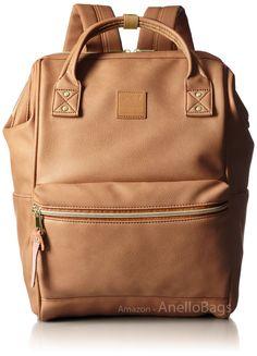 e40742371fe9 Japan Anello Backpack Unisex PINK BEIGE LARGE PU LEATHER Rucksack School  Bag Campus. Size