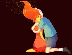 Adventure Time- anime style Flame Princess and Finn