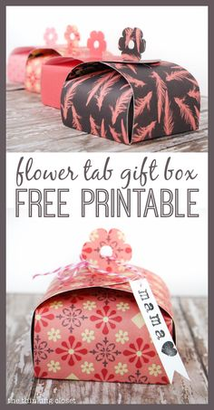 Create your own Flower Tab Gift Boxes out of paper! FREE printable template by thinkingcloset.com