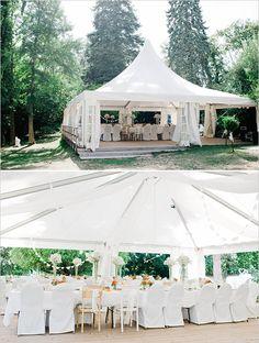 outdoor wedding reception in foresty area #outdoorwedding #tentideas #weddingchicks http://www.weddingchicks.com/2014/04/22/breezy-beautiful-picnic-wedding/