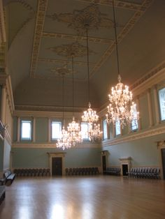 The ballroom within the Assembly rooms in Bath