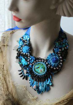 Chinoserie - ouplent délicat collier perlé, de soies, dentelles vintage, bohème romantique, cristaux