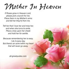 New Birthday Wishes For Mother In Heaven Miss You Mom Ideas Birthday In Heaven Mom, Mom In Heaven Quotes, Mother's Day In Heaven, Mother In Heaven, Heaven Poems, Happy Birthday Mom, Missing Mom In Heaven, Birthday Wishes, Birthday Quotes