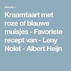 Kraamtaart met roze of blauwe muisjes - Favoriete recept van - Leny Nolet - Albert Heijn