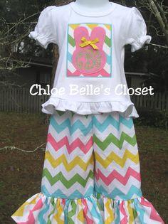 Easter Chevron Initial Ruffle Pant Set. $45.00, via Etsy.