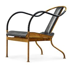69. A MATS THESELIUS BRASS 'EL REY' EASY CHAIR, KÄLLEMO SWEDEN POST 1999. | Label  marked - Bukowskis.com♥🌸♥