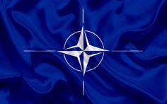 壁紙をダウンロードする 旗のNATO, 青色の絹の旗を, NATO記号, 国際組織, 北大西洋条約機構, NATO