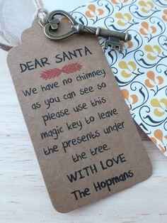 Personalised Santa Magic Key Christmas Gift Tags Label Tree Decoration