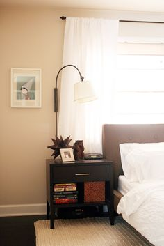 Wall color(Behr-Chocolate Froth)/curtain behind bed/headboard