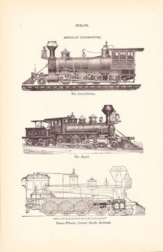 1892 Technical Drawing Train Locomotives Antique by Holcroft