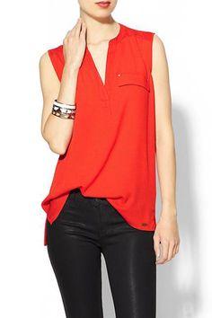 Calvin Klein red top.
