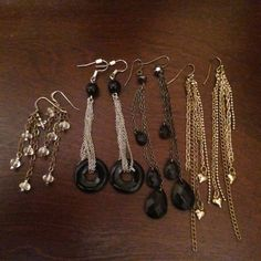"""Costume jewelry - earrings Haven't worn any of these 4 pairs of earrings in years, so it's time to let them go. The black ones are from H&M, the gold with hearts are from Forever 21 & the silver with clear crystals I can't remember where I got them from. The silver & Crystal and 2"""" long and the gold is the longest at 4"""". Price is for all 4 pairs. H&M Jewelry Earrings"""
