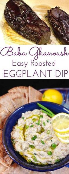 Baba Ghanoush Roasted Eggplant Dip: healthy and addictive! Delicious Middle Eastern dip for fresh veggies or pita bread. Garlic, tahini & fresh lemon juice! So simple.